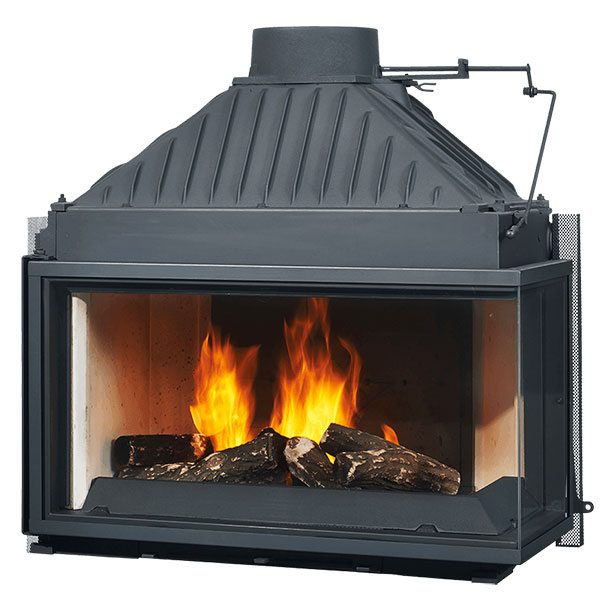 Cheminees Philippe Radiante 873 2V SR wood firebox<br>     Double sided firebox fireplace